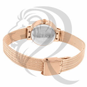 27MM White Dial Rose Gold Plain Mesh Band Watch