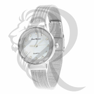 Plain White Gold Tone 27MM Mesh Band Metal Women's Watch