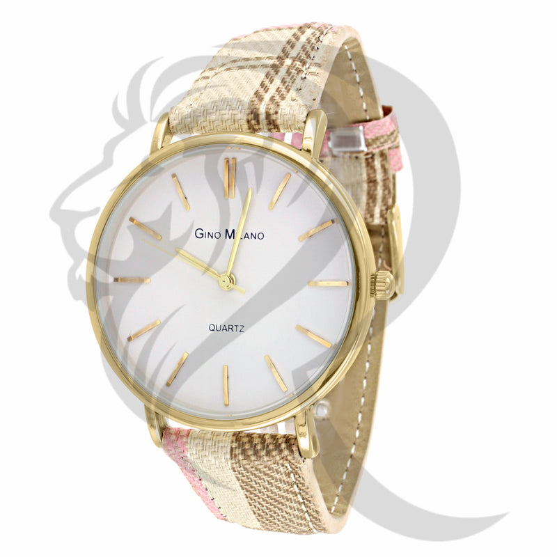 Plain 37MM Multi Color Leather Band Ladies Milano Watch