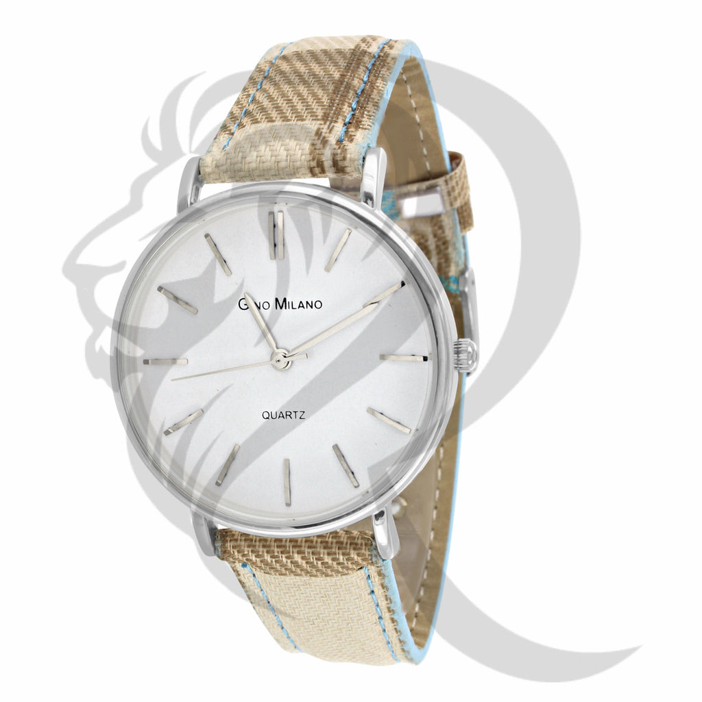 White Dial 37MM Leather Band Gino Milano Women's Watch