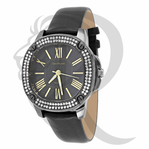 38MM Black IcedOut Dial Leather Watch