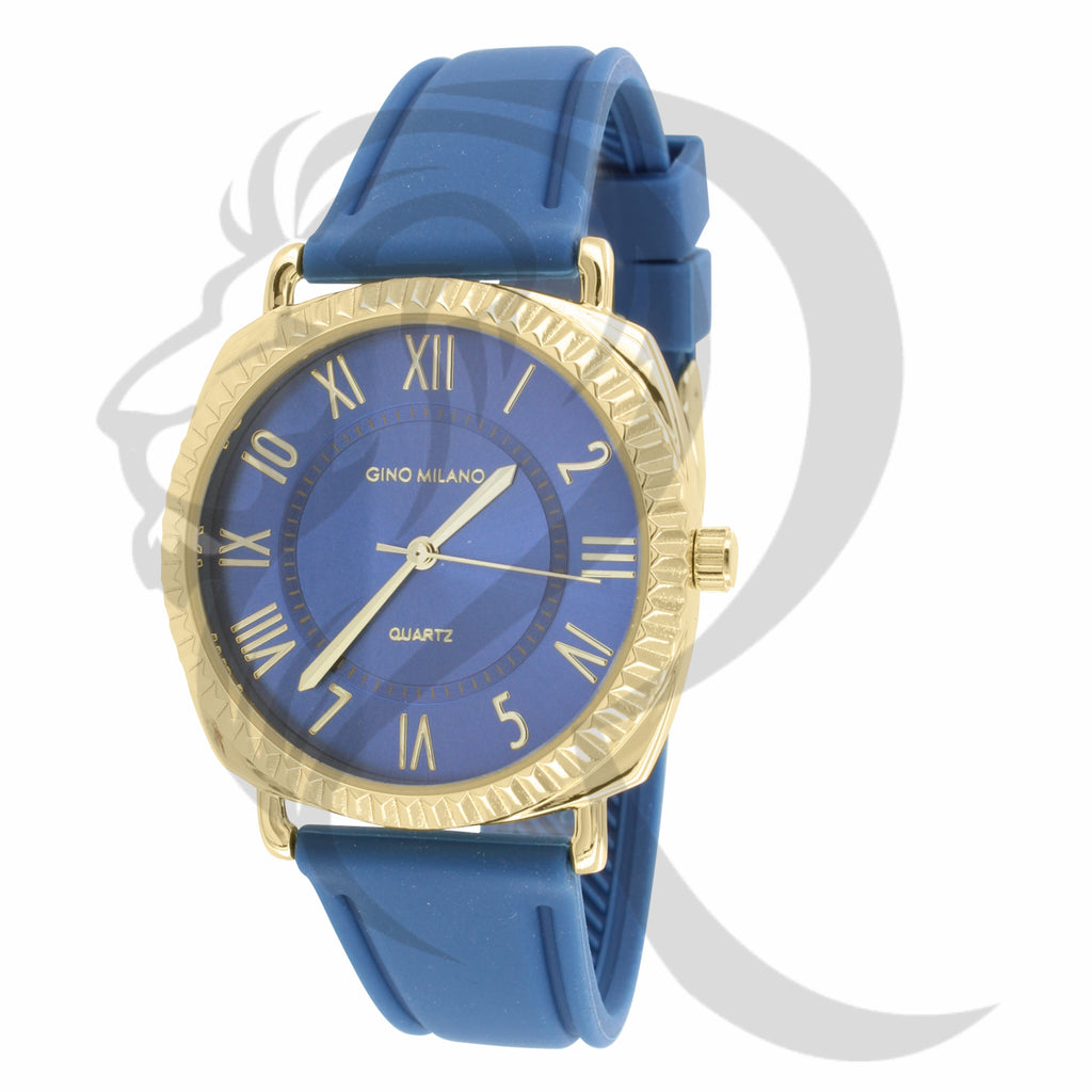38MM Yellow Fluted Rim Roman Numerals Blue Silicone Band Watch