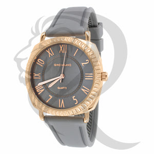 Two-Tone 38MM Face Grey Silicone Band Gino Milano Watch