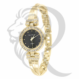 24MM Black Dial Yellow Band ladies Watch