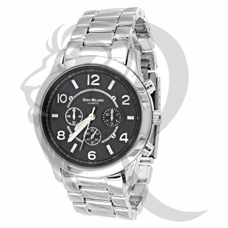 38MM Plain Black Dial White Tone Watch