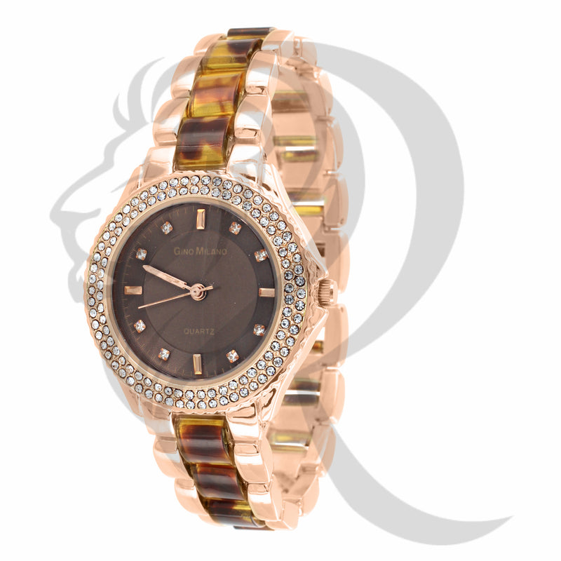 2 Row IcedOut Bezel Rose Gold Gino Milano Watch