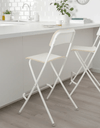 FRANKLIN Bar stool with backrest, foldable, white, white 63 cm - Online Shop Buy Now