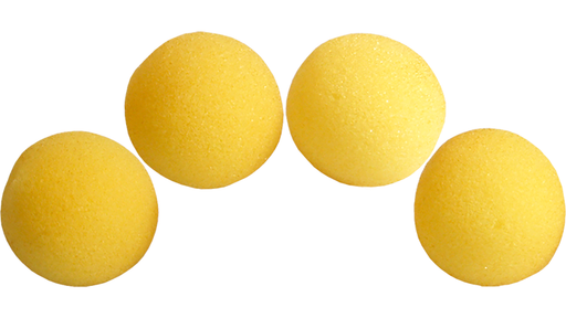 3 inch - 4 x Super Soft Sponge Balls - Yellow - Merchant of Magic