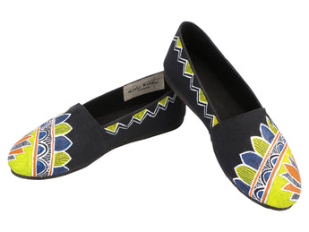 Handpainted Black Slip-on Shoes