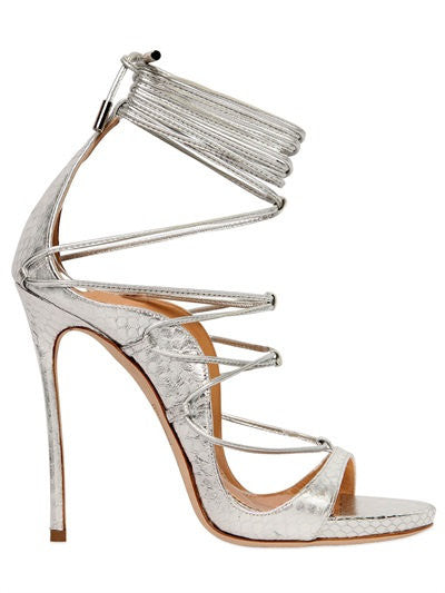DSQUARED2 120MM AYERS SNAKESKIN LACE-UP SANDALS