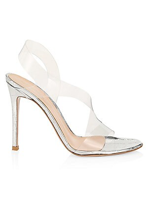 Gianvito Rossi PVC & Croc-Embossed Metallic Leather Slingback Sandals