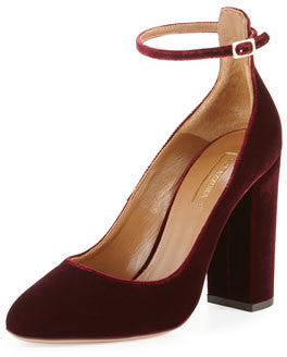 Aquazzura Alix Velvet 105mm Pump, Ruby Red