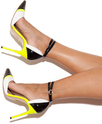 House of CB Santorini black white with neon lime pointed toe pumps