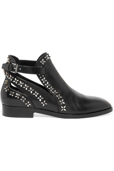Alaïa Appliquéd cutout leather ankle boots