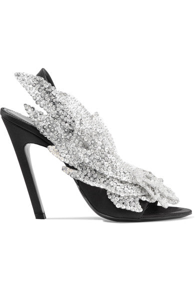Balenciaga Sequin-embellished satin slingback sandals