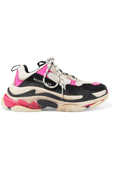 Balenciaga Triple S distressed nubuck and leather-trimmed mesh sneakers