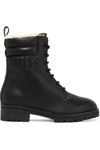Bottega Veneta Shearling-lined intrecciato leather ankle boots