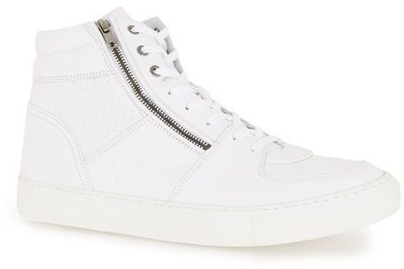 Topman White Leather Hi Tops