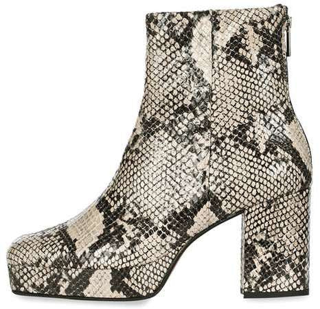 Topshop Margarita snake ankle boots