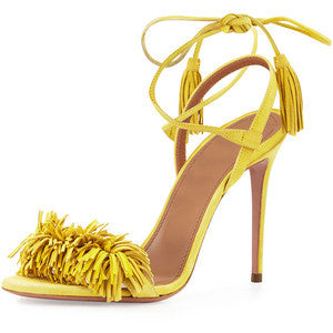 Aquazzura Wild Thing Suede Sandal, Tulip Yellow
