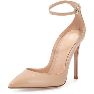 Gianvito Rossi Patent Low-Collar Ankle-Wrap Pump, Nude