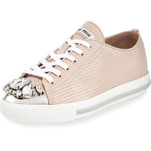 Miu Miu Allacciate Jewel-Toe Perforated Low-Top Sneaker