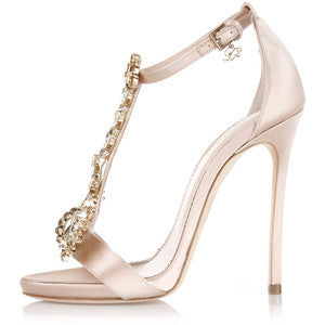 Dsquared2 11,5 Cm Satin Sandal High Heel with Jewel Applicat
