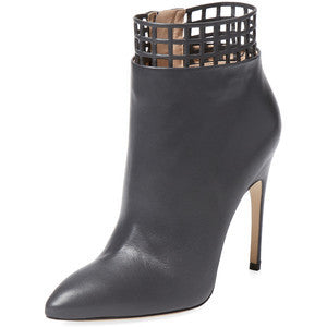 Sergio Rossi Women's Cut-Out Ankle Bootie - Dark Grey - Size 38.5