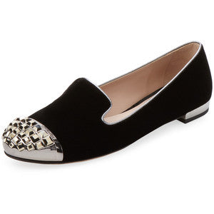 Miu Miu Women's Embellished Velvet Cap-Toe Loafer - Black - Size 39.5
