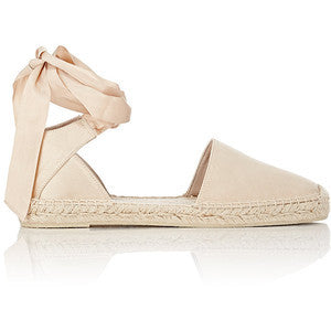 Saint Laurent Women's Satin Ankle-Wrap Espadrilles