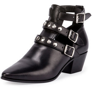 Saint Laurent Three-Strap Leather Ankle Boot
