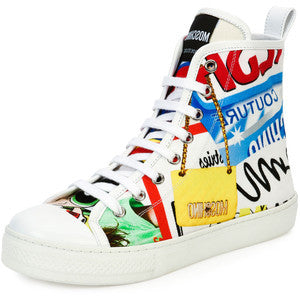 Moschino Graffiti Lace-Up High-Top Sneaker