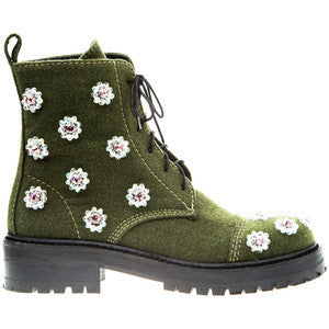 Anouki Khaki Hand Embroidered Ankle Boots