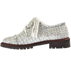 Anouki Silver Sparkly Tweed Brogues