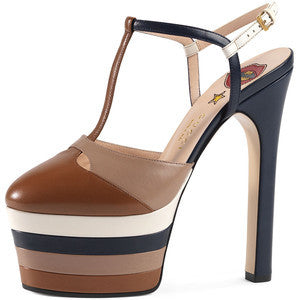 Gucci Angel Colorblock Leather Platform Pump