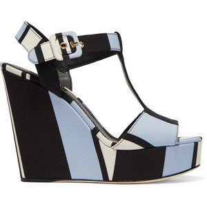 Dolce & Gabbana Striped canvas wedge sandals