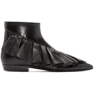 J.W.Anderson Black Ruffled Ankle Boots