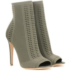 Gianvito Rossi Knitted Stretch Peeptoe Ankle Boots