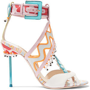 Sophia Webster Nereida appliquéd printed leather and satin sandals