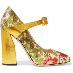 Gucci for NET-A-PORTERFloral-print Textured-leather Pumps