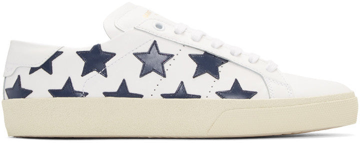 Saint Laurent White Stars Court Classic Sneakers