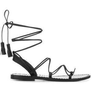 Anine Bing Lace Up Sandals With Tassels In Black