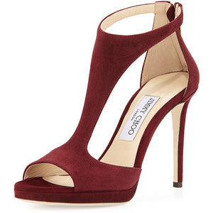Jimmy Choo Lana Suede T-Strap 100mm Sandal, Bordeaux