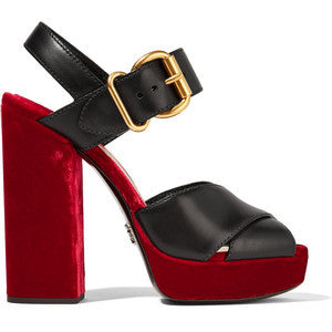 Prada Leather and velvet platform sandals