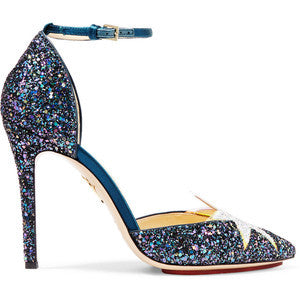 Charlotte Olympia Twilight Princess satin-trimmed glittered leather pumps