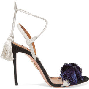 Aquazzura + Johanna Ortiz tasseled two-tone suede sandals