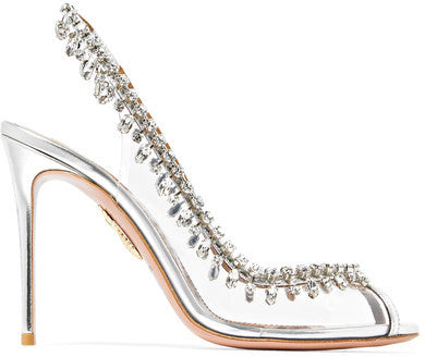 Aquazzura Temptation Embellished Perspex And Leather Slingback Pumps - Silver