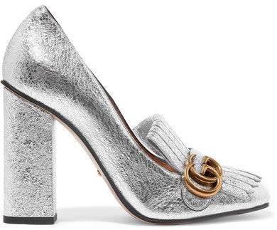Gucci Fringed Metallic Cracked-leather Pumps - Silver