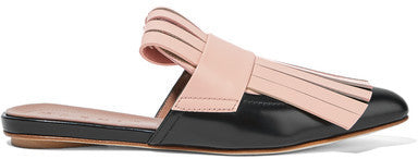 Marni Fringed Two-tone Leather Slippers - Black