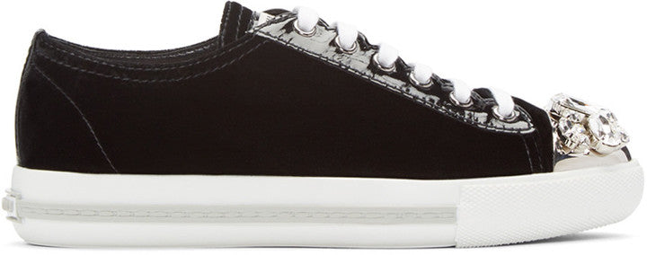 Miu Miu Black Crystal & Velvet Sneakers